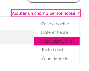 typologie champ personnalise moodle